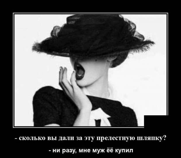 Демотиватор про женскую шляпку