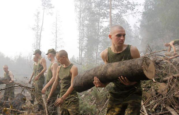 Военные помогают бороться с распространением лесного пожара около города Луховицы