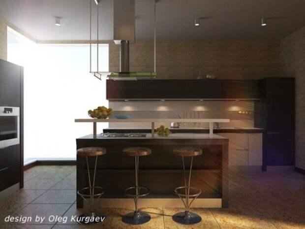 Авторский проект кухни с барной стойкой от Олега Кургаева