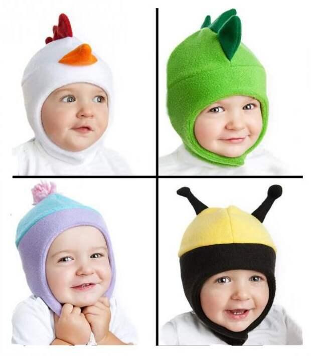 Идеи детских шапочек из флиса с выкройкой основой