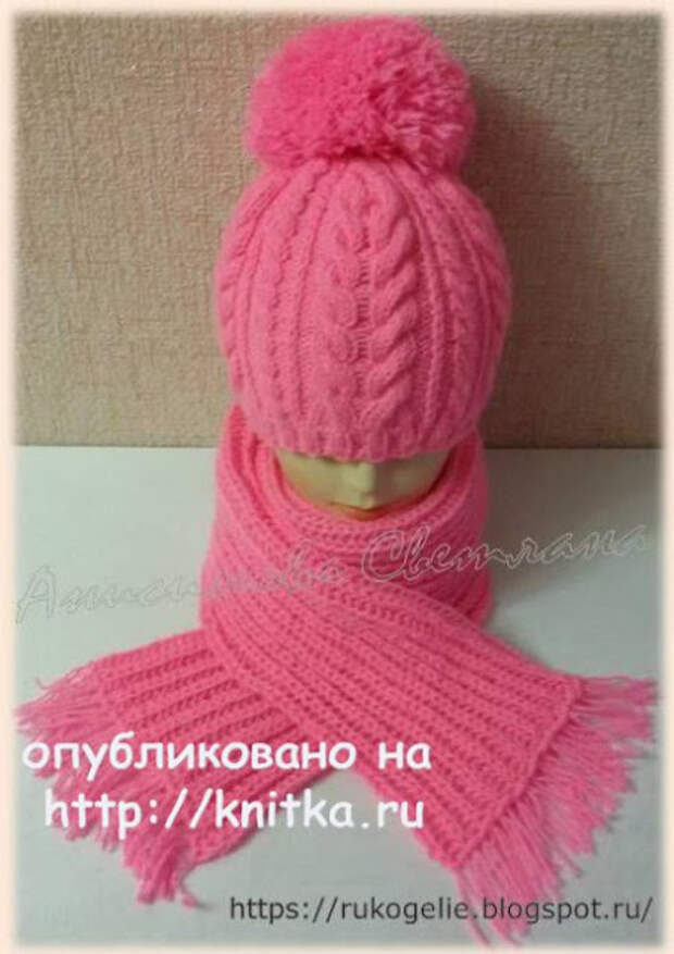 Женский пуловер + Шапка и шарф спицами