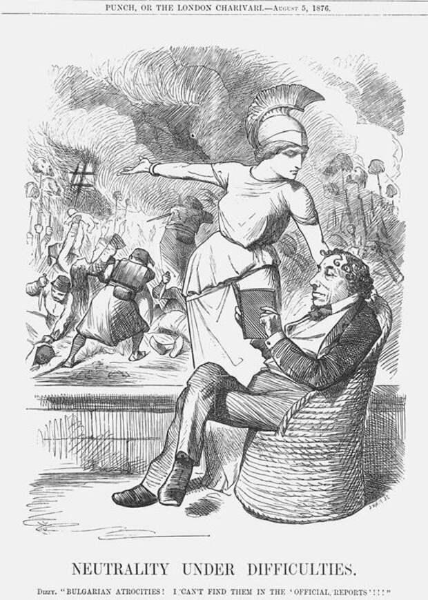 Британия призывает Бенджамина Дизраэли прервать нейтралитет. Английская карикатура. 1876 год © Getty Images