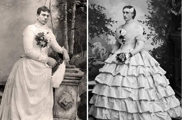 Мужчины, переодетые в женское платье в Викторианскую эпоху.