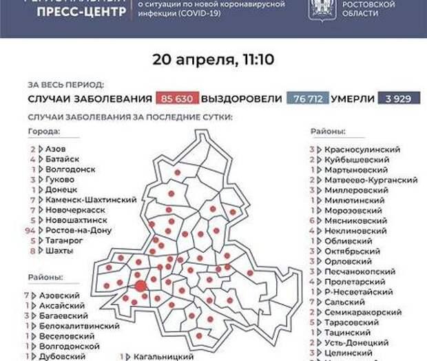 Большинство новых случаев коронавируса - в Ростове, Шахтах и Цимлянском районе
