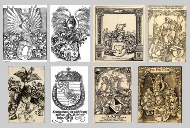 Гербовые экслибрисы работы Альбрехта Дюрера. На левом вверху изображен его личный герб.