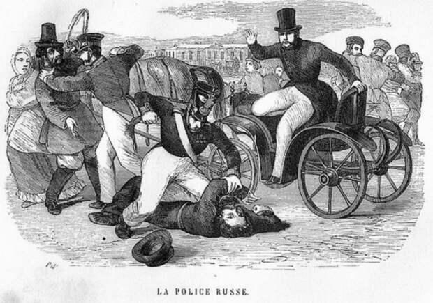 Подавление полицейскими бунтовщиков.