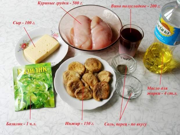 Куриные грудки с инжиром