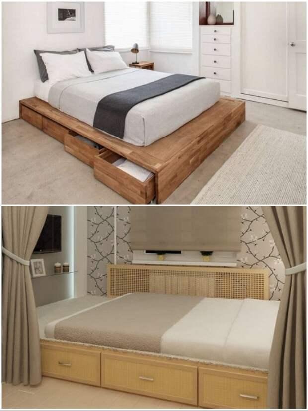 Подкроватные ящики, впрочем, как и саму кровать можно сделать самостоятельно.   Фото: novamett.ru/ matrason.ua.