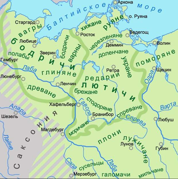 Карта расселения племен в XIII веке.