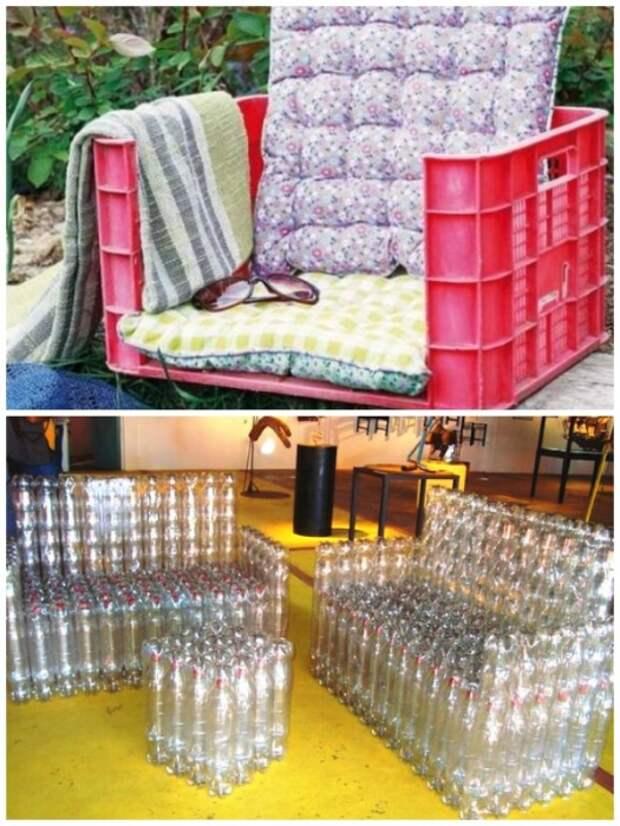 Дачную мебель можно смастерить даже из пластиковых ящиков и бутылок. | Фото: yandex.com.