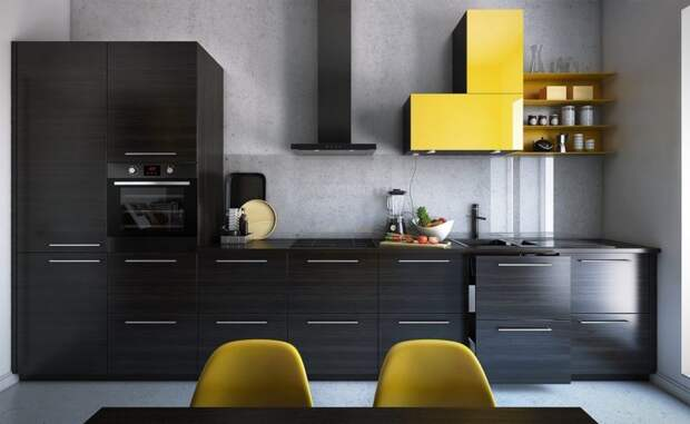 Лучшие варианты одностенных кухонь, на которых есть все необходимое
