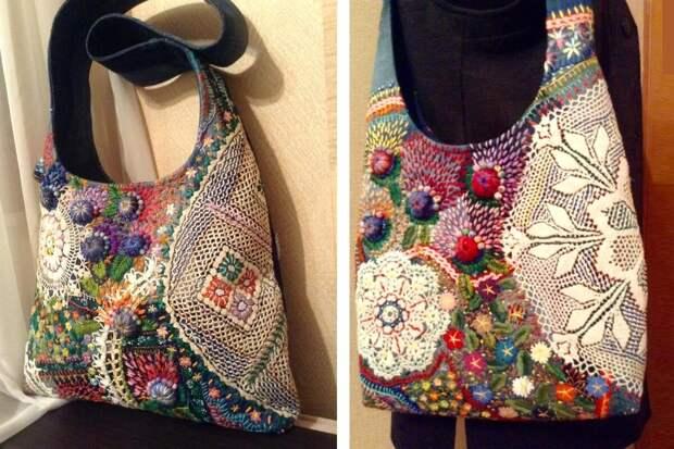 Джинсовые сумки, расшитые вручную мастером Ольгой, хочется разглядывать под лупой
