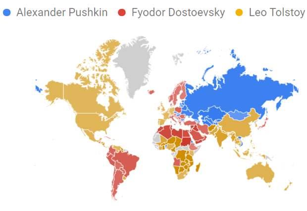 Карта популярности российских писателей в мире по данным Google Trends