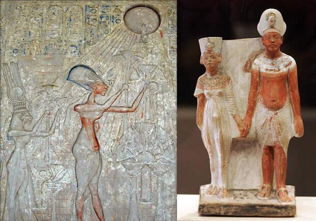 Сцены молитвы. Эхнатон и Нефертити.