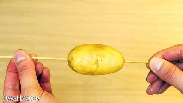 Как порезать картофель в спираль обычным ножом
