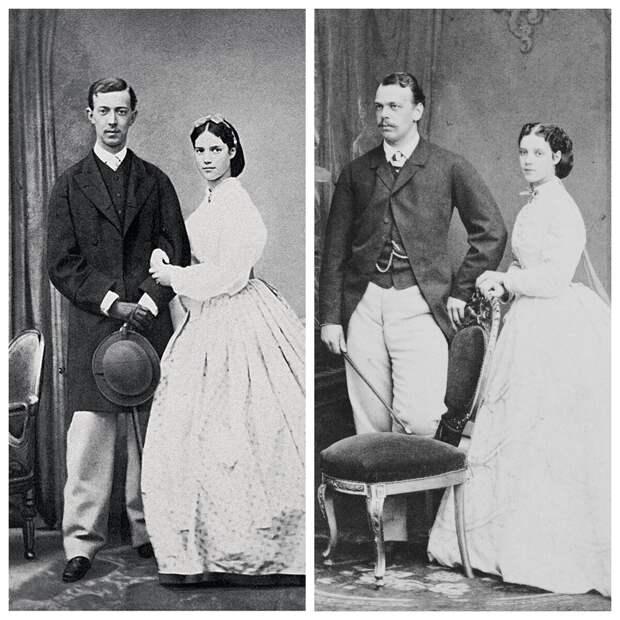 Слева - принцесса Дагмара с первым женихом, цесаревичем Николаем. Справа - она же со вторым женихом, великим князем Александром, братом Николая. Дагмаре все-таки удалось стать Романовой.