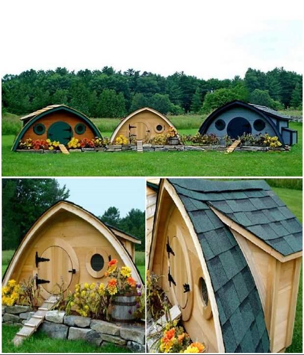 В этих домиках живут не хоббиты, а куры креативных домовладельцев. | Фото: pikabu.ru/ landshaftdizajn.ru.
