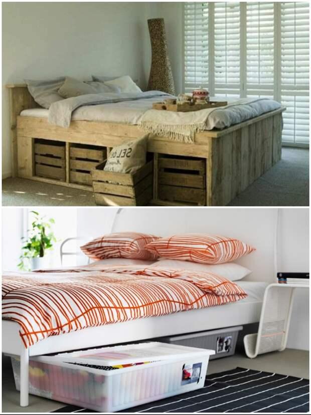 Под кровать можно пристроить все что есть, только не стоит забывать о стиле оформления комнаты.   Фото: pinterest.co.uk/ remont-samomy.ru.