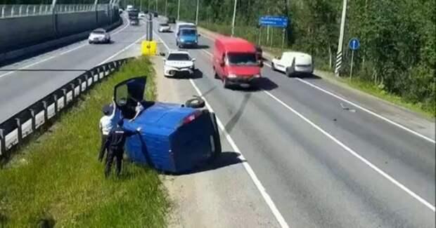 Нападение иззасады: ДТПсучастием полицейской машины вПетербурге