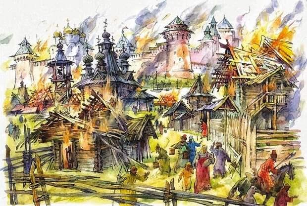 погребальным костром горели города российские... (рисунок художника Юрия Богачева)