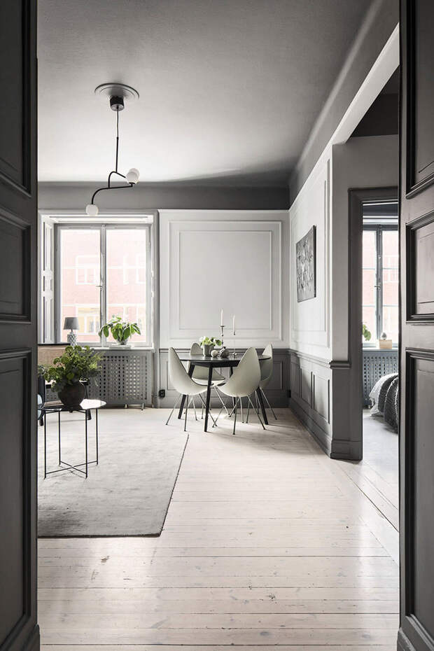 Элегантная серая квартира с кухней IKEA в Стокгольме (41 кв.м)