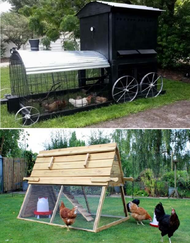 На конструкции подобного рода ограничения не распространяются. | Фото: купить-курятник.рф/ landshaftdizajn.ru.
