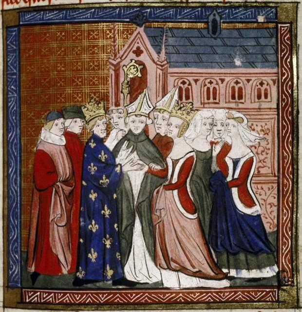 Свадьба Алиеноры и Людовика. Миниатюра XIV века