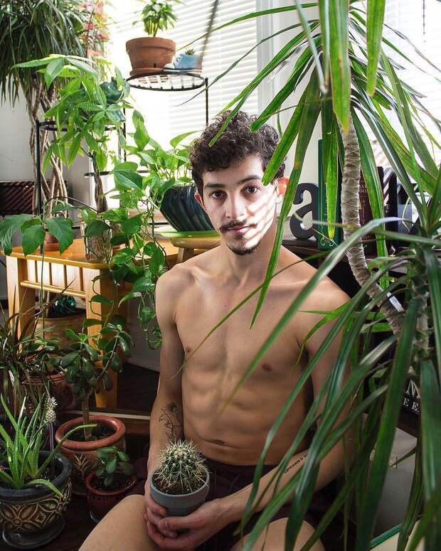 Популярный Instagram-аккаунт «Boys with Plants», где полуголые мужчины позируют с растениями