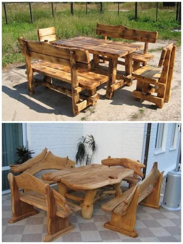 Мебель из древесины – идеальный вариант садовой мебели. | Фото: pinterest.com.