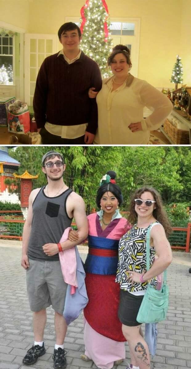 Семейная пара, потерявшая 84 кило на двоих, отетила свой успех поездкой в Диснейленд диета, лишний вес, похудение