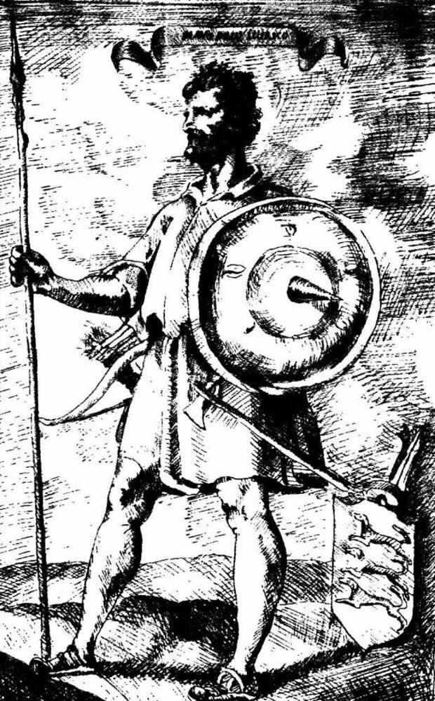 На гравюре славянский воин Балкан тех лет. Оставлю его здесь, так как Паштровичи могли  выглядеть именно так.