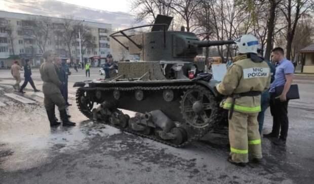 В Уфе во время репетиции парада Победы загорелся танк