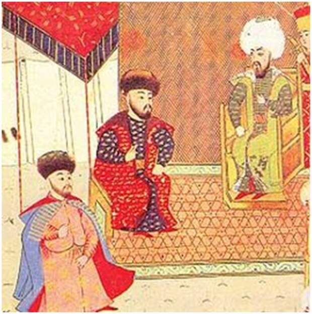 Менгли-Гирей (в центре) с сыном и султаном Баязидом