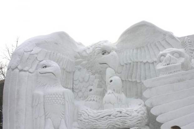 Хищная птица из снега