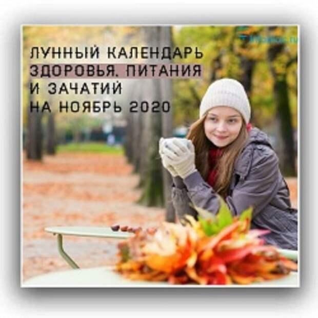 Лунный календарь здоровья, питания и зачатий на ноябрь 2020 год.