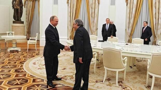 Генсек ООН поблагодарил Путина за поддержку