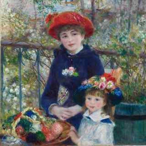 мини. Две сестры (На террасе) / Two Sisters (On the Terrace). 1881г. Пьер-Огюст Ренуар