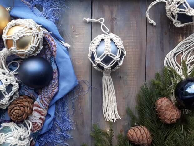 Новогодний макраме шарик