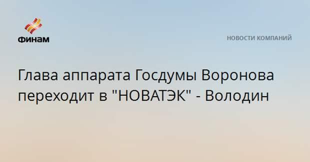 """Глава аппарата Госдумы Воронова переходит в """"НОВАТЭК"""" - Володин"""