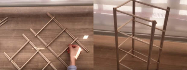 По-настоящему простая и полезная идея из деревянных палочек и пластиковых корзин