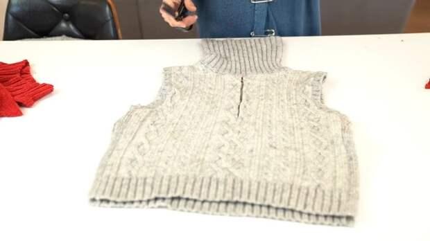 Супермодный свитер при помощи обычных ножниц