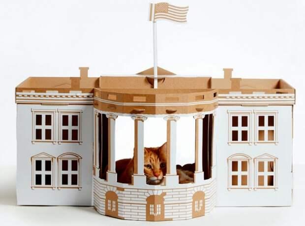 домик для кошки из картона как сделать своими руками