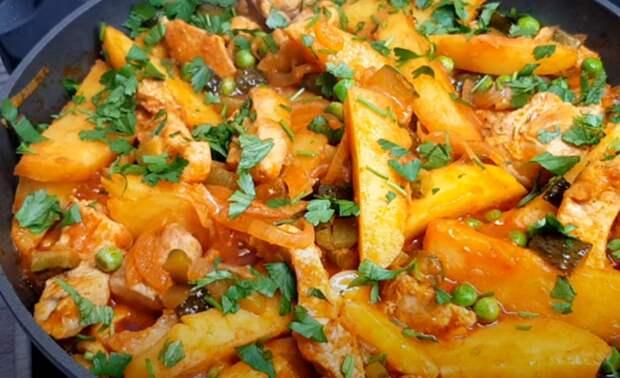 Вкусный картофель с мясом к ужину