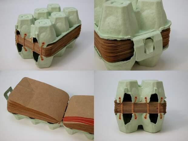 4. Интересный дизайнерский блокнот вторая жизнь старых вещей, интересно, контейнер из-под яиц, своими руками, сделай сам, фото