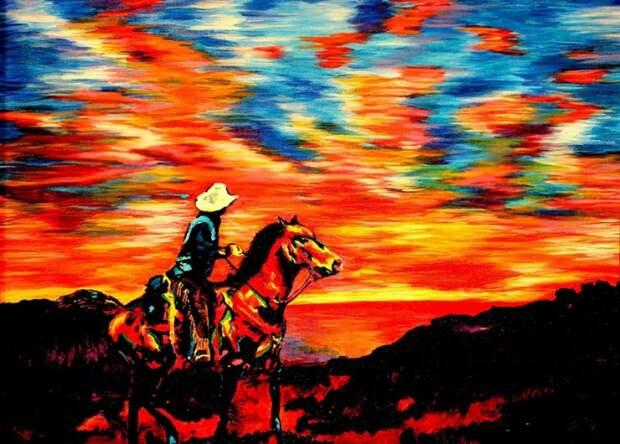Слепой художник на ощупь создает красочные полотна. Восторг!