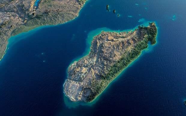 Пролив между Африкой и Мадагаскаром, вид сверху, взято с Яндекс.Картинки