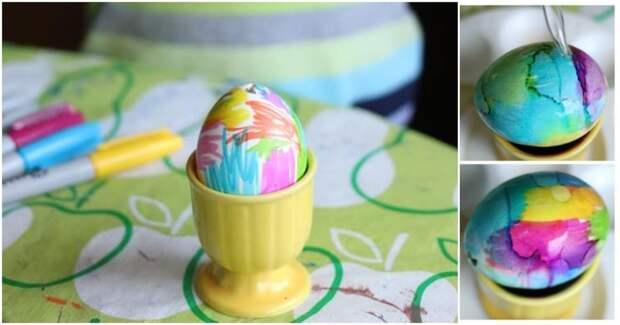 Неподражаемый результат. Простой, но при этом очень красивый способ покраски яиц на Пасху