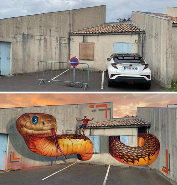 Волшебный мир граффити: 15+ волшебных работ французского художника, превращающего обшарпанные углы в 3D-объекты, пугающие своей реалистичностью