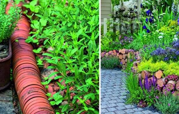 Слева: глиняные горшки на границе цветника. Справа: ограда-склад из дров.