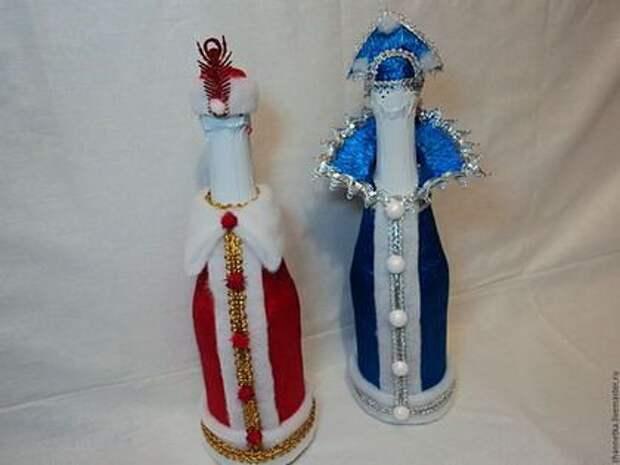 Интересные идеи для оформления бутылок к Новому году.
